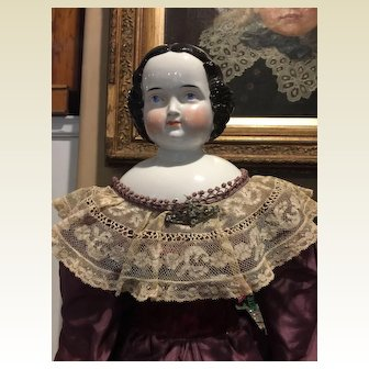 """Stately Antique Kister China Head Doll-31"""" Tall"""