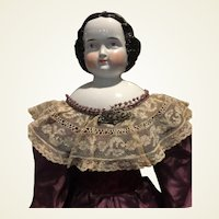 "Stately Antique Kister China Head Doll-31"" Tall- CLEARANCE PRICE!-Free Ship!"
