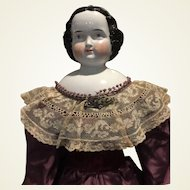 "Stately Antique Kister China Head Doll-31"" Tall- CLEARANCE PRICE!"