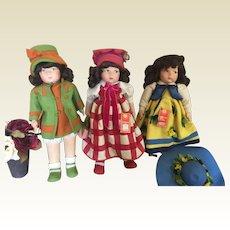 Set of 3 Vintage Lenci Felt Dolls