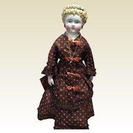 "Antique Small Parian Doll -16"" Tall Gorgeous!"