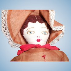Vintage Cloth Doll with Embroidered Face
