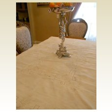 Vintage Gorgeous Linen Embroidered Tablecloth