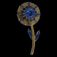 AUSTRIAN Blue Crystal Flower Pin