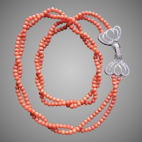 Victorian Mediterranean Salmon Coral Necklace Two Strands Natural Undyed Coral Large Fancy Double Heart Clasp Silver