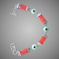 "Wonderful Green and Red Jadeite Jade Bracelet Sterling Silver Adjustable from 7 1/2"" to 8 3/8"" Long"