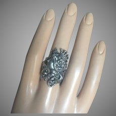 Impressive Art Nouveau Girl with Tiara Ring Sterling Silver 33 mm Wide Size 8.75