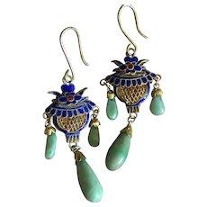 Chinese Apple Green Jade Teardrops Dangle Earrings Blue Enamel Filigree Silver Gilt 58 mm Long