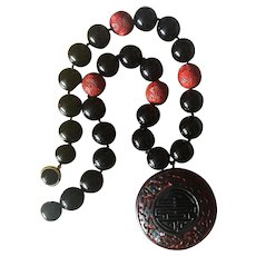 Very Elegant 1980's Art Deco Style Red Cinnabar and Black Onyx 15 mm Beads Hand Knotted Necklace with Large Red and Black Cinnabar Pendant