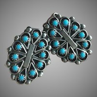 Beautiful Native American Zuni Turquoise Silver Clips Earrings Signed