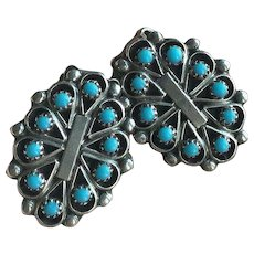 Beautiful Native American Zuni Turquoise Silver Clips Earrings Signed by Zuni artist D. MALIE