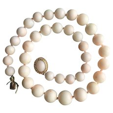 """14K Gold Mediterranean Angel Skin Coral Beads Necklace 44 grams Coral Beads 11mm down to 7mm Length 15 5/8"""""""