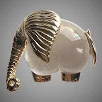 Impeccable Jelly Belly Heart Body Elephant Lucite Gold Tone Brooch Pin Signed P&M PARIS