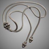 "Vintage Lariat Round Mesh Chain BOLO Tie Necklace Two Tone Metal 36.5"" Long 4mm Diameter Very Elegant"