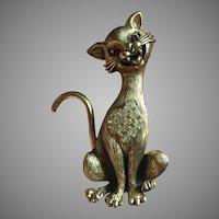 Tortolani Cat Brooch Pin Antiqued Gold Tone Circa 1960's