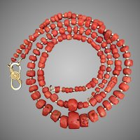 Perfectly Imperfect Natural Red Mediterranean Coral Necklace Two Strands 78 grams Beautiful Red Color