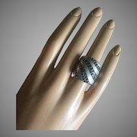 EFFY Designer Sapphires Silver Cigar Band Ring Size 6.5 Signed