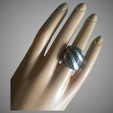 Signed Effy Designer Sapphires Silver Cigar Band Ring Size 6.5