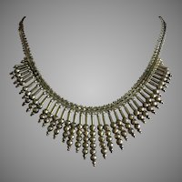 Splendid Double Sided Graduated Italian Collar Bib Necklace Gold on Sterling Silver 17""
