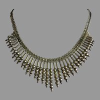 """Vintage Splendid Double Sided Graduated Italian Collar Bib Necklace Gold on Sterling Silver 17"""""""