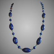"Vintage Lapis Lazuli Elongated Beads Turquoise Vermeil Silver Necklace 24"" Long"