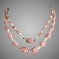 "Carved Angel Skin Graduated Coral 12mm - 8mm Beaded Necklace 35.5"" Long Lustrous Pearls Coral Cabochon Clasp"