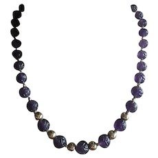 """Classy Carved Amethyst Beads 14K Gold Filled Beads Graduated Necklace 20"""""""