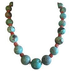 Natural Chinese Turquoise Necklace with Cracks and Pits Red Coral Spacers 125.4 grams 18 mm to 12 mm Beads