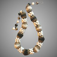 """Vintage Choker Necklace Length 16""""Diameter Black and White Beaded Large Beads 17 mm Circa 1950""""s"""