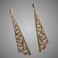 Art Deco Style 18K Gold over Silver Marcasites Pendant Earrings CLASSIC ELEGANCE