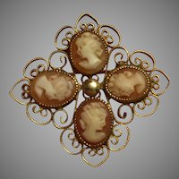 Graceful Antique Four Cameos in One Brooch Pin Gold Filled Filigree Lovely Condition