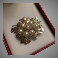 "Mid Century 8 Large Akoya Pearls 7mm Spray Brooch Pin 2"" Silver Modernist Space Age Design BEAUTIFUL"