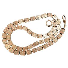 """Antique Victorian Multi Color Rolled Gold Bookchain Necklace 18.5"""""""