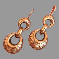 Late Victorian Antique 9K Gold Three Interlocking Hoops Dangle Earrings Wonderful Yesterday Today Tomorrow Dangles 39 mm