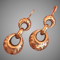 Antique 9K Gold Late Victorian Three Interlocking Hoops Dangle Earrings Wonderful Yesterday Today Tomorrow Dangles 39 mm