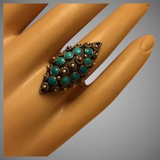 Old Mexican Turquoise Silver Ring Navette Shaped 33 mm