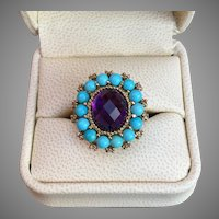 Beautiful Victorian Inspired Turquoise Amethyst Diamond Gemstone Ring 10K Gold Ring Size 8.5