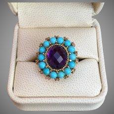 Beautiful Victorian Inspired Turquoise Amethyst Diamond Gemstone Ring 10K Gold Ring Size 8.5