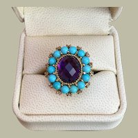 Victorian Inspired 10K Gold Ring 23 mmx21 mm Turquoise Amethyst Diamond Gemstone 8.5 grams Size 10.5