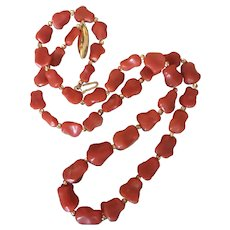 "Marvelous Natural Momo Red Coral Nugget Necklace 14K Gold Graduated Coral 11-8mm Beaded Necklace 18.5"" Long"