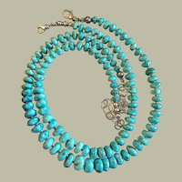 Two in One American Turquoise Beads Double Necklace Graduated 12.5 mm to 6 mm Silver Beautiful Aqua Blue Turquoise