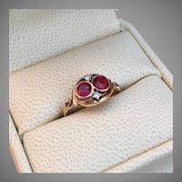 Romantic Antique Toi et Moi Ring Raspberry Tourmaline and Crimson Tourmaline 14K Gold Diamond Accents Promise Engagement Ring