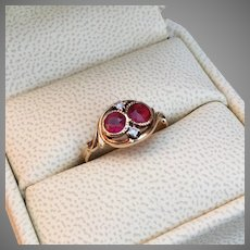 VALENTINE's DAY SPECIAL Romantic Antique Toi et Moi Ring Raspberry Tourmaline and Crimson Tourmaline 14K Gold Diamond Accents Promise Engagement Ring