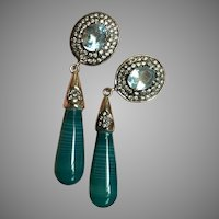 Impressive Long Earrings Blue Topaz Green Agate Dangle Silver Earrings 55 mm