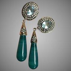 Impressive Long Earrings Blue Topaz Green Agate Dangle Silver Earrings 55 mm