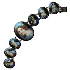 """Charming Seven Young Women Portraits Bracelet Painted Porcelain Plaques Silver Bracelet 7"""" Long"""
