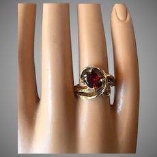 Vintage Free Form Garnet Ring Gold over Sterling Silver Size 7
