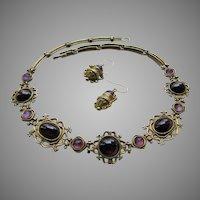 Splendid Natural Pink Tourmaline Garnet Gemstones Etruscan Style Handmade Necklace 21K Gold Plated Bronze JADED New York