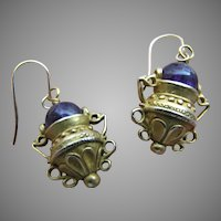 Etruscan Style Amethyst Amphora Dangle Earrings 10K Gold Ear Wires 21K Gold Plated Bronze Handmade by JADED New York