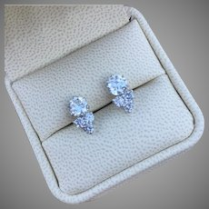 Sophisticated 2.35 tcw Diamonds 14K Gold Earrings Studs Two Round 1.70 carat Diamonds and Six Accent 0.65 carat Diamonds